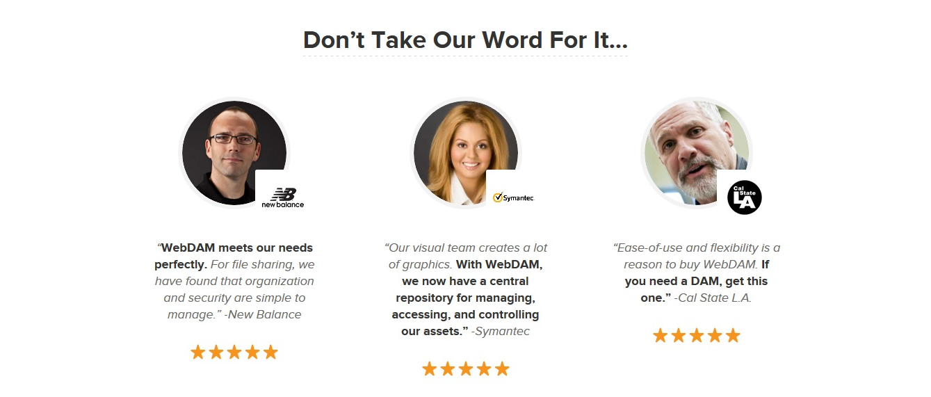 A WebDAM landing oldalán nem csak az elégedett ügyfelek fényképe és véleményel átható, hanem az is, hogy melyik cégnél alkalmazzák a WebDAM megoldását